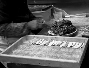 B&W, Black and White, Street Photography, Chinatown, NYC,dumplings, making dumplings