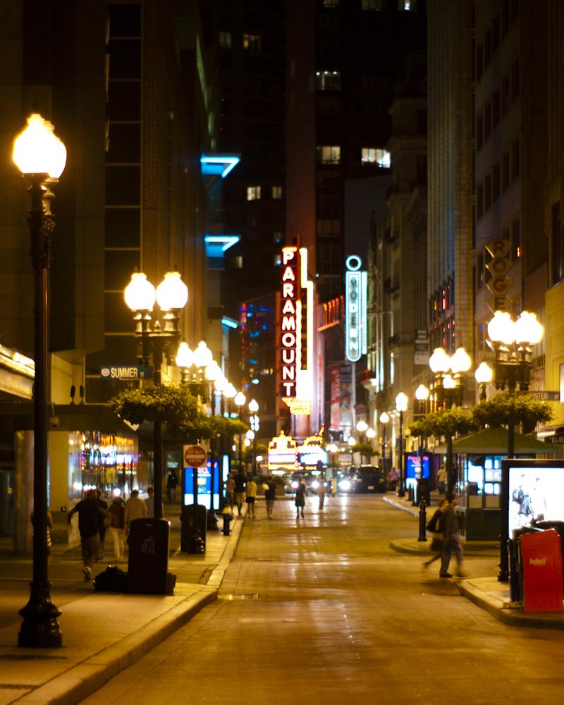 Boston, Paramount theater, street, noir, night street