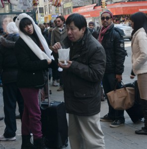 Street Photography, Chinatown, NYC, man eating soup